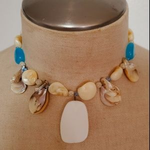 Mens Tribal Island Shell Necklace White Blue